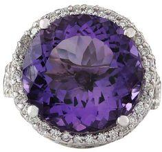 14K White Gold Amethyst 1.50ct. Diamond Ring Size 6.75