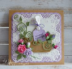 Handmade card by DT member Wybrich with Creatables Tiny's Basket (LR0404), Swirl and Leaves (LR0414), Lace Doily (LR0415) and Craftables Label XL & Labels XS (CR1353) from Marianne Design