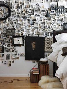 photo wall collage / Accumulation désordonnée , idée cadre rond avec petites photos qui déborde...