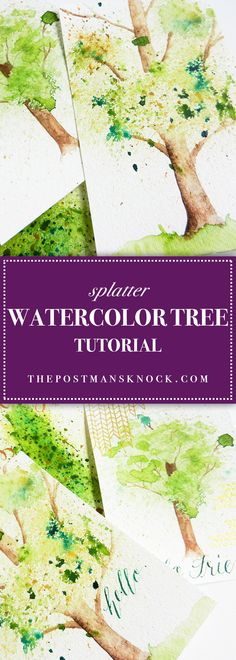 Spatter Watercolor Tree Tutorial - https://thepostmansknock.com/spatter-watercolor-tree-tutorial/
