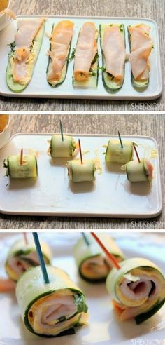 Cucumber roll-ups with Greek yogurt/ I would use a soft cheese and mustard