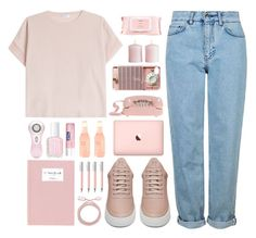 """""""Bubble Gum"""" by dn8-35 ❤ liked on Polyvore featuring Brunello Cucinelli, Topshop, Filling Pieces, Samsung, H&M, Clarisonic, Essie, Belkin, Mamonde and Faber-Castell"""