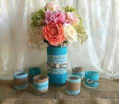 tiffany blue burlap and lace wedding rustic vase and candles