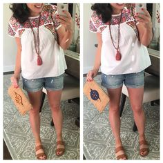 FRIDAY FAVORITES: DENIM SHORTS REVIEW AND DARLING EMBOIDERED TOP