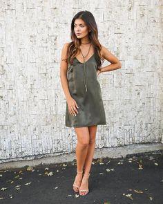 Slink & Wink Slip Dress - Olive - FINAL SALE