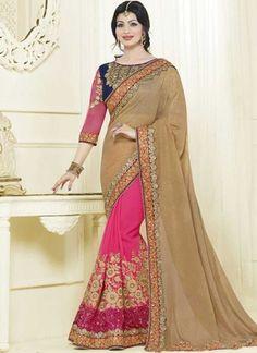 Ayesha Takia Cream Pink Embroidery Work Georgette Designer Half Sarees  http://www.angelnx.com/Sarees
