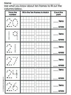 Place Value Practice - Numbers 11 to 29 - Freebie - Students use their knowledge of place value, ten frames, and counting skills to fill out these useful number sense worksheets. Ideal for Kindergarten or First Grade.