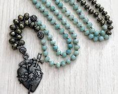 #forher#necklace#handmade#Boho#ethnic#jewlery#gifts#mala#style  long gray heart pendant necklace, stylish long  heart necklace, versatile long BOHO necklace, long blue boho chic necklace, gift  for women