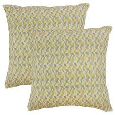 Set of 2 Bloem Chevron Throw Pillows in Citron, Green, Size 18 x 18