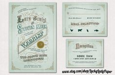 Romance Novel Mint, Emerald and Peach Invitation set by Luckyladypaper. $3.50, via Etsy.