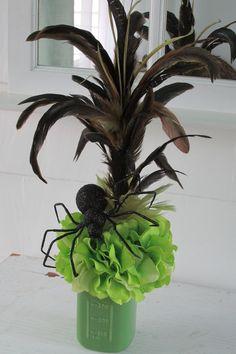 Halloween Mason Jar Floral Arrangement, Halloween Mason Jar, Green Mason Jar, Painted Mason Jar, Halloween Décor, Hydrangea, Spider by SilvaLiningDesigns on Etsy