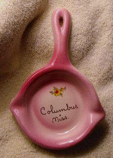 MISSISSIPPI / Porcelain Spoon Rest  -   Columbus  Mississippi  Souvenir - Vintage 1975  / SpoonRest
