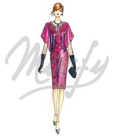 The Marfy hand made pre-cut sewing pattern :: Sewing Pattern 3664 - Marfy Patterns, Sewing Patterns, Head Scarf Styles, Power Dressing, Caftan Dress, Sheath Dress, Chiffon, Fashion Drawings, Lace