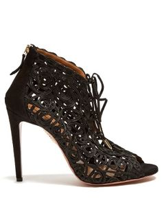 Kya macramé-lace and suede sandals | Aquazzura | MATCHESFASHION.COM