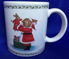 Bunny Rabbit Santa Coffee Mug By Susan Labelle Vintage Christmas 1986 Sack Toys #SusanLabelle #Cup