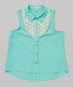 Monteau Girl Mint Crochet Button-Up by Monteau Girl #zulily #zulilyfinds