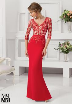 VM Collection 71125 Quarter sleeve satin back crepe floor length formal dress with beaded lace appliqués. $549