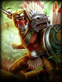 Xbalanque, Hidden Jaguar Sun, is a hunter of the Mayan pantheon in Smite. Xbalanque was born with vengeance in his heart. Aztecas Art, Character Art, Character Design, Character Inspiration, Chibi, Aztec Culture, Aztec Warrior, Mesoamerican, Chicano Art