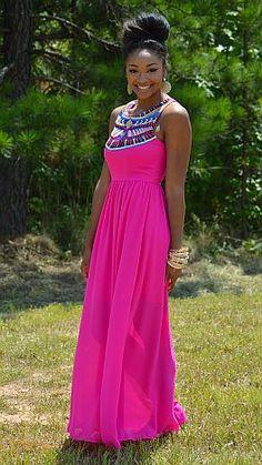Chiffon skirt on national printed dresses
