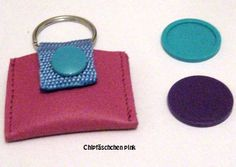 *♥Einkaufschip-Hülle-Pink-♥echtes Leder + 3 Chips & Schlüsselring*     Kleine Täschchen aus echtem Leder mit Chip + 2 Ersatzchips.  Farbwahl (solan...