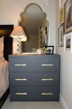 Ikea malm dresser painted in annie sloan paris grey with for Malm kommode weiay