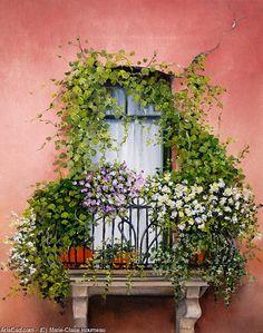 Obra De Arte >> Marie-Claire Houmeau >> balcón adentro flores
