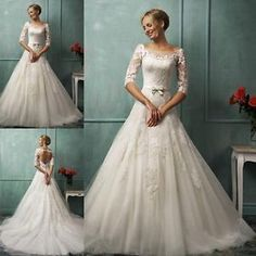 A-line-3-4-Sleeve-wedding-dress-lace-Sexy-Open-Back-bridal-Gown