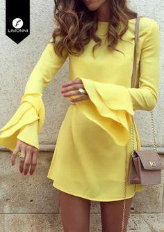 Vestidos para mujer Limonni Bennett Cortos elegantes - New Trend Formal Dresses With Sleeves, Casual Dresses, Casual Outfits, Short Sleeve Dresses, Moda Fashion, Girl Fashion, Fashion Outfits, Womens Fashion, Autumn Fashion Grunge