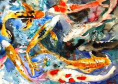 Butterfly Koi, Abstract Watercolor Painting | Miriam Schulman