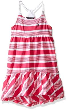 Nautica Little Girls Maxi Dress with High-Low Hem Navy 6