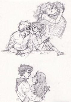 Harry et Ginny Harry Potter Art, Harry Potter Drawings, Burdge, Sketches, Character Design, Drawings, Art, Harry Potter Love, Fan Art