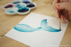 How to Paint a Watercolor Mermaid Tail + Printable - One Project Closer Watercolor Mermaid, Watercolor Water, Watercolor Paintings For Beginners, Watercolour Tutorials, Mermaid Crafts, Mermaid Art, Mermaid Wall Decor, Mermaid Drawings, Hand Lettering Tutorial