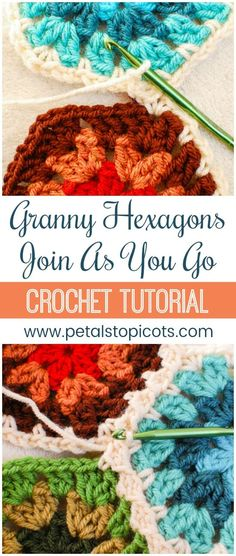 Join crochet hexagons easily with the join as you go (JAYGO) method. Not only is does it help you join the pieces quickly but it also creates a beautiful design between your motifs! #petalstopicots