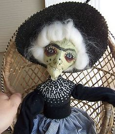 """19"""" Halloween style painted cloth doll Witch by Sue Sizemore"""