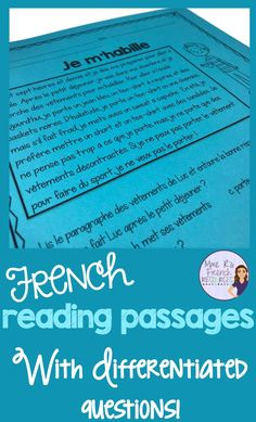 These French reading comprehension activities for beginning and intermediate students from Mme R's French Resources help teachers differentiate learning. Teaching Time, Teaching French, Teaching Reading, Teaching Spanish, Teaching Ideas, Reading Practice, Reading Skills, Reading Lessons, Reading Comprehension Activities