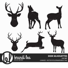 Really neat Deer Silhouettes - Digital Download - 300 DPI - PNG & Vector EPS Files 3.50 USD from BrandiLeaDesigns clipart clip art black transparent PNG vector silhouette vector EPS animal hipster deer buck stag forest http://ift.tt/1CwabvT