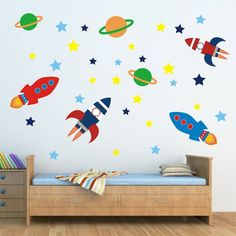 This outer space wall sticker set will really brighten up any boys bedroom, nursery or play area. The pack includes rockets, planets and stars.The wall sticker pack includes four rockets, three planets and twenty seven stars, which are all supplied as separate pieces, allowing you to arrange the stickers in any way you wish to create a truly unique outer space scene for your aspiring astronaut. To fit the children's wall decals, simply peel and stick each piece to any smooth surface…