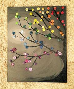 Rainbow button tree on canvas