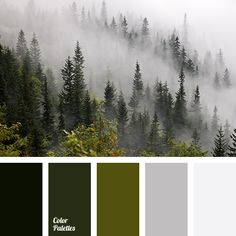 color matching dark green gray color misty forest colors mountains fog color olive pale gray shades of green winter color combination winter fog color winter palette Green Color Schemes, Green Colour Palette, Green Colors, Color Combos, Colours, Gray Color, Home Color Schemes, Color Combinations Home, Bright Colors
