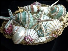 Special Order Bejeweled Shells For ES From The Collection  By Debbie Del Rosario-Weiss, Juliana,brush, comb, vintage, Clock,tray, mirror, perfume, antique, vintage, victorian, Sparkle, Eisenberg, Judy Lee,