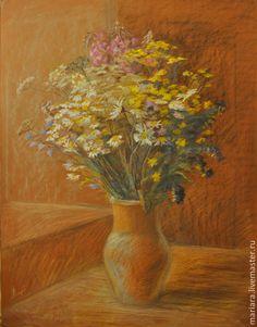 Купить Картина пастелью Букет полевых цветов - пастель, полевые цветы, бежевый, лето, ромашки