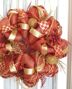 Premium Deco Mesh CHRISTMAS Wreath For Door or Wall Red Gold Glitter via Etsy