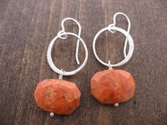 small circles w. sponge coral earrings by Andrea Wysocki Jewelry $76