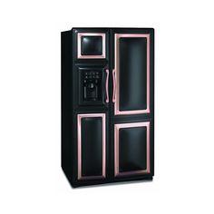 black refrigerator with copper trim