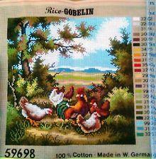 Rico Gobelin Needlepoint Canvas ofChickens Made in W.Germany Very Nice