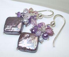 Lavender Square Coin Pearl Cluster Earrings Handmade Sterling Silver Cluster Earrings - Lila via Etsy