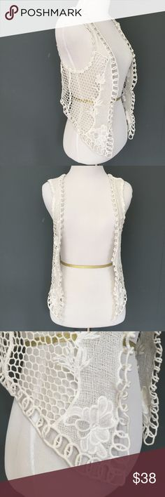 """Club Monaco White Floral Lace Vest - XS/S Club Monaco White Floral Lace Vest XS S Crop Hippie Festival Burning Jacket Man   Excellent Condition!  Size: XS/Small (but could fit larger sizes since the bust is open) Bust (flat): 15"""" Length (from shoulder): 18""""  Please check out my Trixy Xchange Closet for more festival clothing! :)  Tags: boho, bohemian, summer Club Monaco Jackets & Coats Vests"""