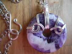 Chevron Amethyst Donut Bead Wire Wrapped in Silver by OurFrontYard, $23.77