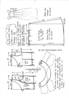 Vestido de festa ombro a ombro com saia pregueada Sewing Patterns Free, Sewing Tutorials, Clothing Patterns, Free Pattern, Crochet Patterns, Shirt Dress Pattern, Sewing Clothes Women, Sewing Blouses, Make Your Own Clothes