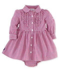 Ralph Lauren Baby Girls Dress, Baby Girls Cotton Dress